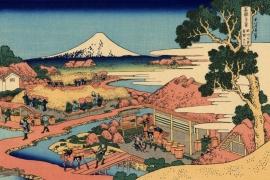 Вид Фудзи от чайных плантаций Катакура в провинции Цуруга