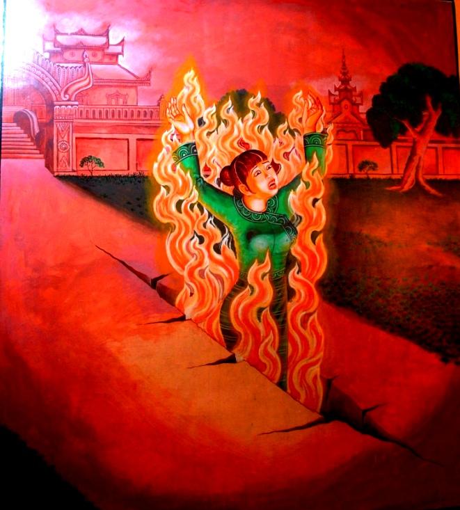 горящая женщина в аду