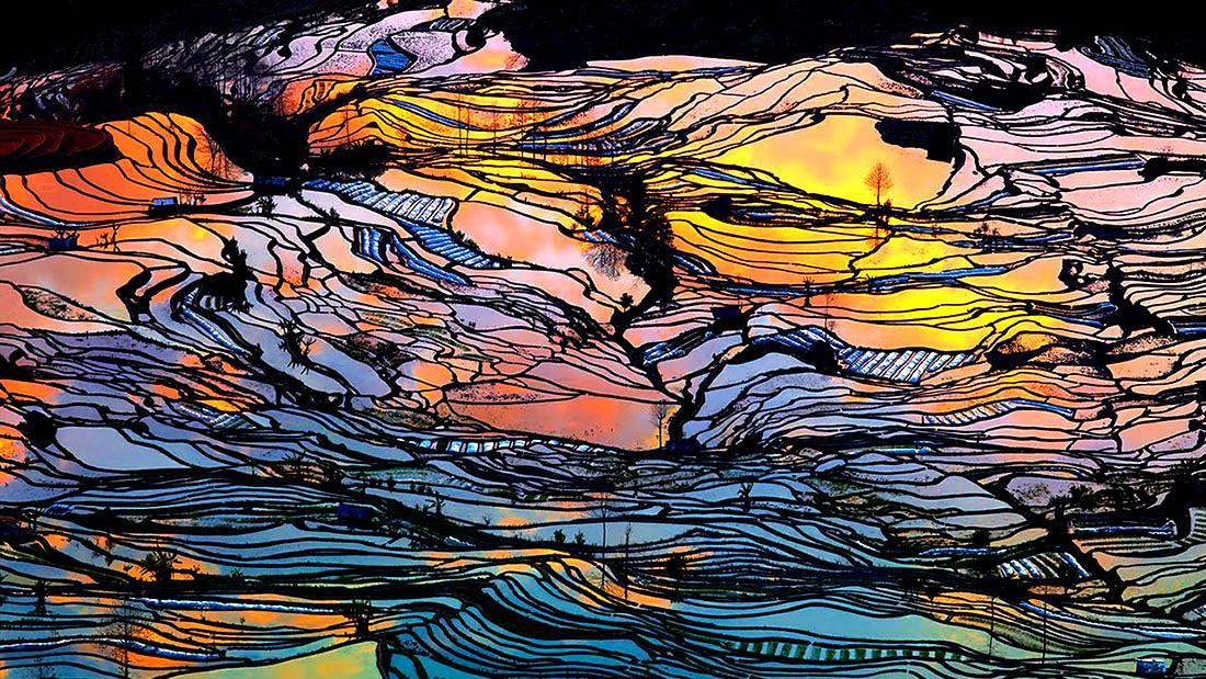 радуга рисовых террас
