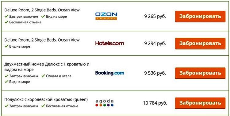 Пример выдачи цен по одному из отелей на Hotellook