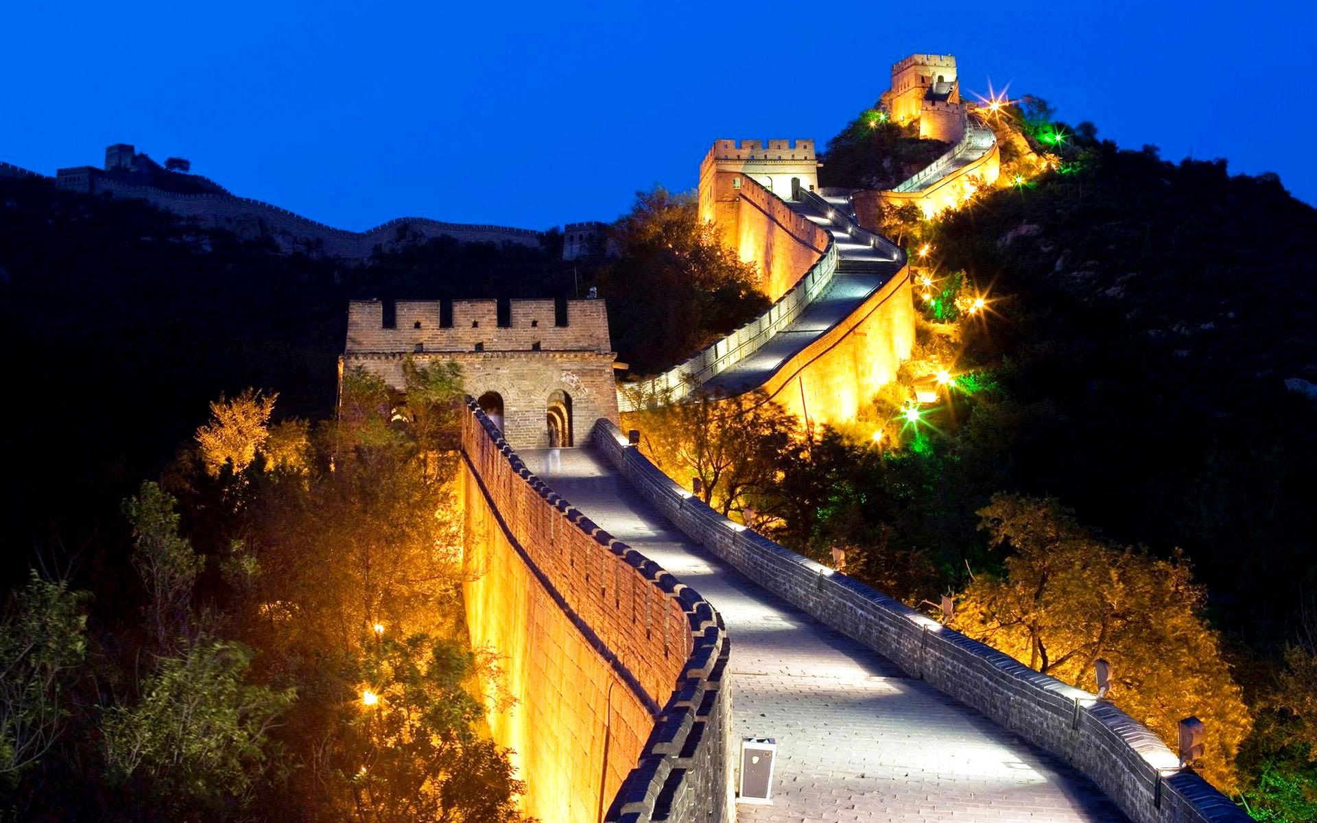 ночной пейзаж великой стены