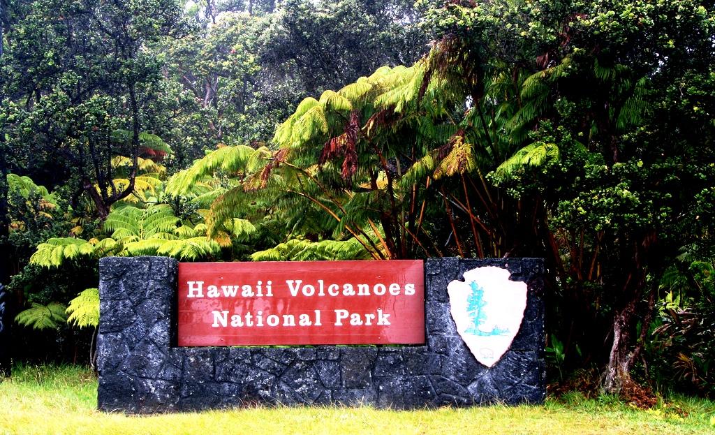 табличка парка гавайские вулканы