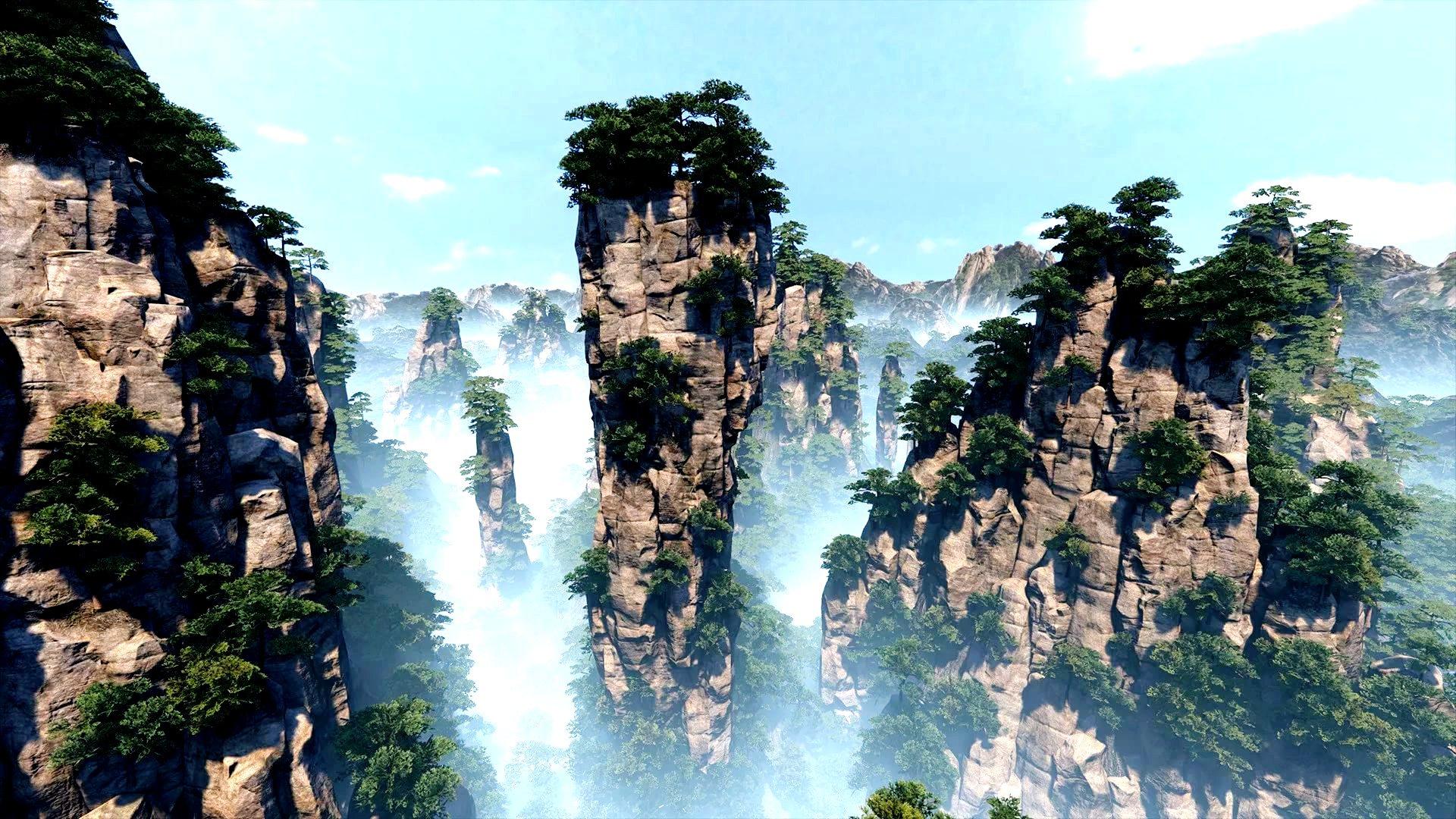 горы аватара в дымке