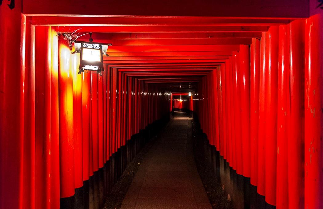 красные колонны фусими инари
