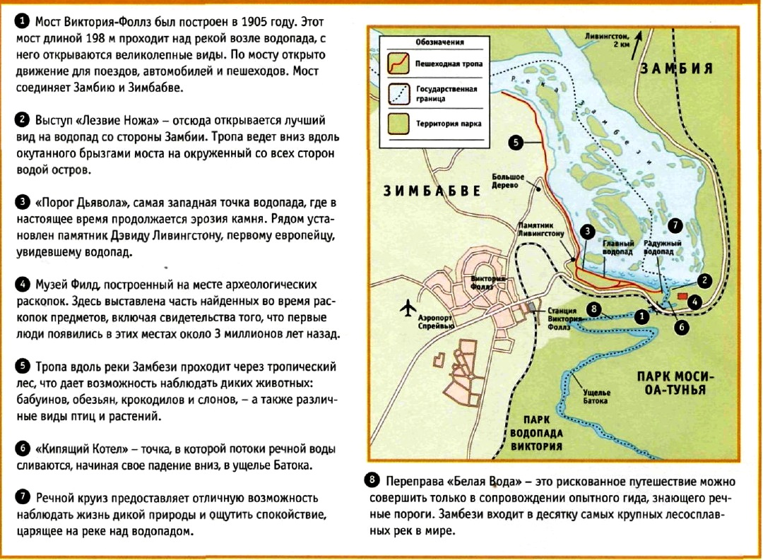 карта водопада виктория
