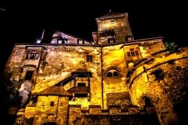 Оравский град ночью