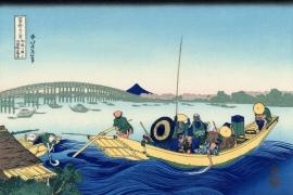 Ночной вид на мост Рёгокубаси с берега реки Оммаяга