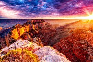 восход в большом каньоне